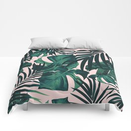 Tropical Jungle Leaves Pattern #5 #tropical #decor #art #society6 Comforters