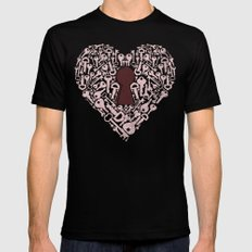 The Key To My Heart Black MEDIUM Mens Fitted Tee