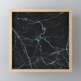 Modern abstract black teal elegant glitter marble Framed Mini Art Print