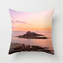 Saint-Malo Twilight Coast Throw Pillow