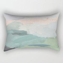 Seafoam Green Mint Black Blush Pink Abstract Nature Land Art Painting Rectangular Pillow
