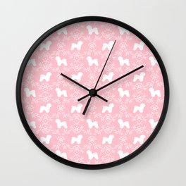 Bichon Frise dog florals silhouette pink and white minimal pet art dog breeds silhouettes Wall Clock