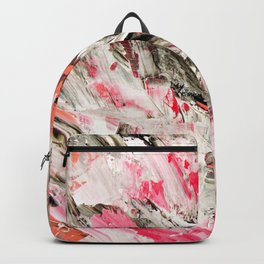 Candy Modern abstract pink salmon black grey acrylic brushstrokes painting Backpack