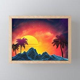 Sunset Vaporwave landscape with rocks and palms Framed Mini Art Print