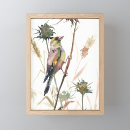 European Goldfinch and Dry Field Plants Framed Mini Art Print