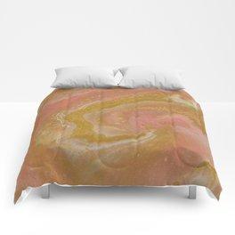 Pink Swirl, Abstract Fluid Acrylic Comforters