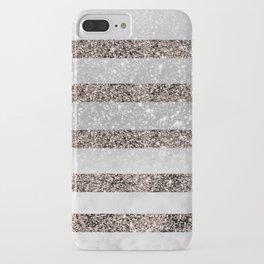 White Marble Rose Gold Glitter Stripe Glam #2 #minimal #decor #art #society6 iPhone Case