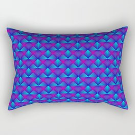 Chaotic pattern of blue diamonds and purple pyramids. Rectangular Pillow
