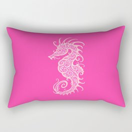 Intricate Pink Tribal Seahorse Design Rectangular Pillow