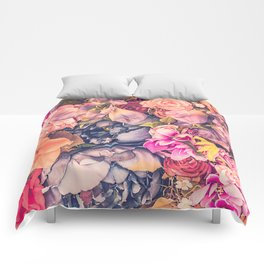 Beautiful background with different flowers Comforters