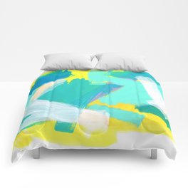Be Kind, Be OK - mint modern mint abstract painting pastel colors Comforters