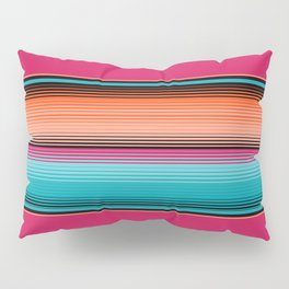 Traditional Mexican Serape in Teal Pillow Sham