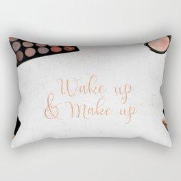 Wake up & Make up - Make-Up and Fashion Statement on beauty products flatlay Rectangular Pillow