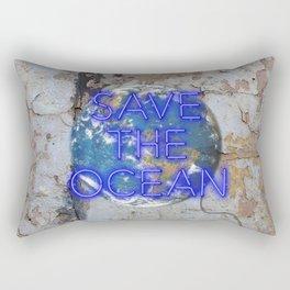 Save the Ocean - Neon Rectangular Pillow