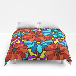 floral background. field of multi colored bright summer colors for the background Comforters