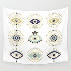 Evil Eye Collection on White Wall Tapestry