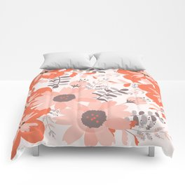 Big Flowers in Pink and Coral Red Comforters