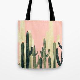 pink growing cactus Tote Bag