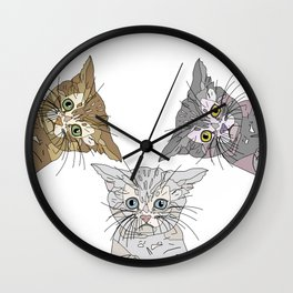 Triple Kitties Wall Clock