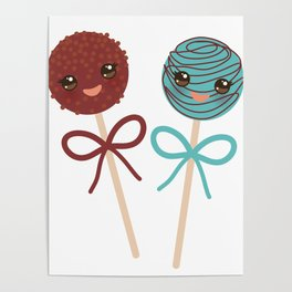 cute funny kawaii chocolate and blue Sweet Cake pops set with bow on white background Poster