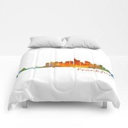 Frankfurt am Main, City Skyline, Citiscae art watercolor V1 Comforters