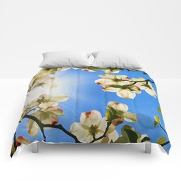 Sunlit Dogwood Blooms Comforters