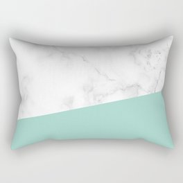 White Marble in Teal Rectangular Pillow