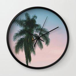 Pastel Sky Palm Tree - Los Angeles, California Wall Clock
