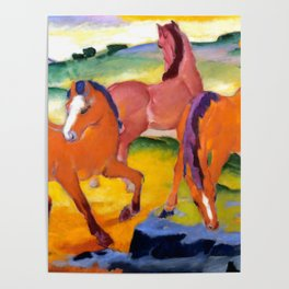 """Franz Marc """"Grazing Horses IV (The Red Horses)"""" Poster"""