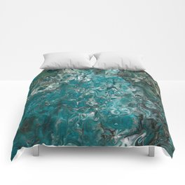 Ocean View, abstract poured painting Comforters