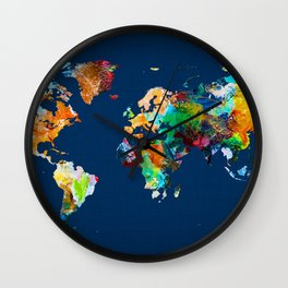 World Map 25 Wall Clock