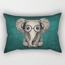 Cute Baby Elephant Dj Wearing Headphones and Glasses on Blue Rectangular Pillow