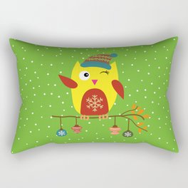 Cute Owl sitting on a branch with christmas baubles, Winter, X-mas Design Rectangular Pillow