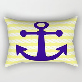Blue Anchor with Yellow Ropes Rectangular Pillow