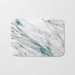 Gray Marble Aqua Teal Metallic Glitter Foil Style Bath Mat