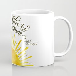 Watercolor Sun and Hand Lettered Walt Whitman Quote | Modern Calligraphy Quote | Watercolor Painting Coffee Mug