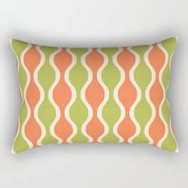 Classic Retro Ogee Pattern 852 Orange and Olive Rectangular Pillow