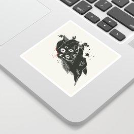 Wolf Eating Anatomical Heart, Gothic Artwork Sticker