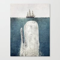 jaws Canvas Prints featuring The Whale - vintage  by Terry Fan