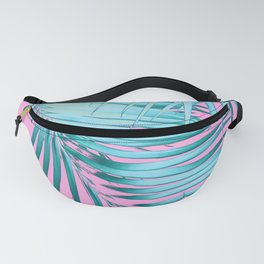 Palm Leaves Pink Blue Vibes #1 #tropical #decor #art #society6 Fanny Pack