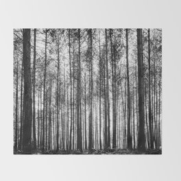 trees in forest landscape - black and white nature photography Throw Blanket