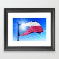 Czech Republic flag waving on the wind Framed Art Print