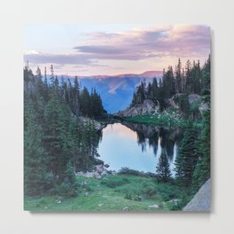 Hikers Bliss Perfect Scenic Nature View \ Mountain Lake Sunset Beautiful Backpacking Landscape Photo Metal Print