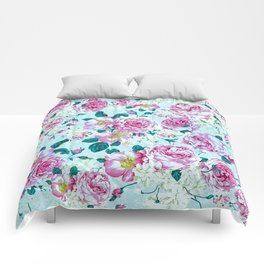 Vintage modern pink green teal watercolor floral Comforters