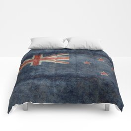 New Zealand Flag - Grungy retro style Comforters