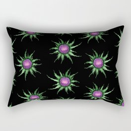 Pink Thistle Flowers On Black Pattern Rectangular Pillow