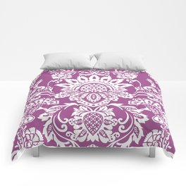 Damask in cyclamen Comforters