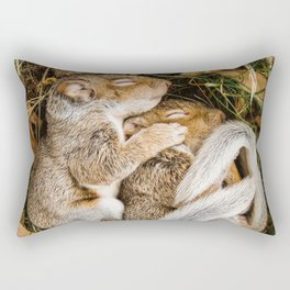 Two baby squirrels cuddling as they sleep Rectangular Pillow