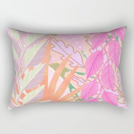 Modern Jungle Plants - Pink Green Purple Rectangular Pillow