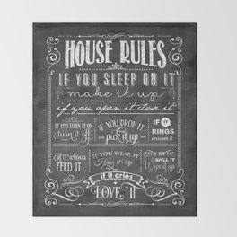 House Rules Retro Chalkboard Throw Blanket